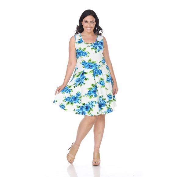 ad3e2dea15e Plus Size Floral Print Dress fitted Midi ps826-95. Boutique. White Mark
